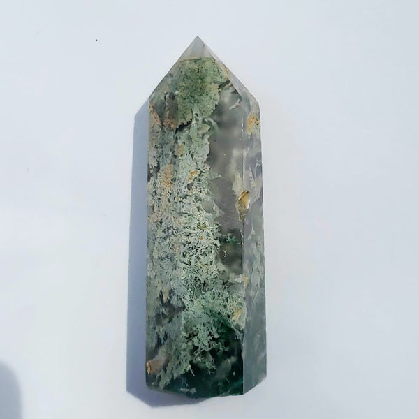 Polished Moss Agate Standing Display Tower #1