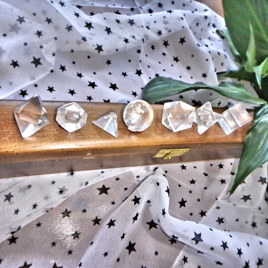 Complete 7 Stone Clear Quartz  Sacred Geometry (Platonic solids) Carvings in Protective Wood Case
