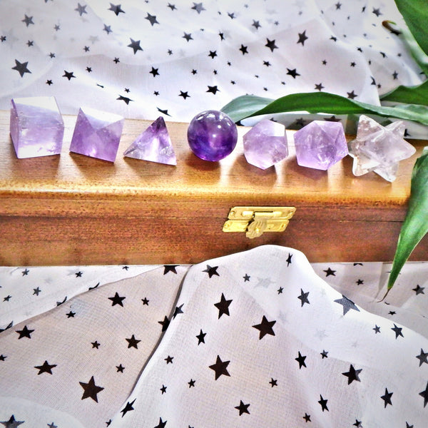 Complete 7 Stone Amethyst  Sacred Geometry (Platonic solids) Carvings in Protective Wood Case - Earth Family Crystals