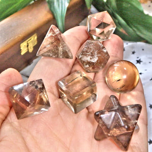 Complete 7 Stone Smoky Quartz Sacred Geometry (Platonic solids) Carvings in Protective Wood Case