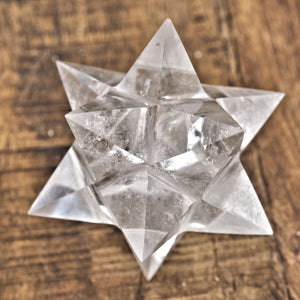 One 12 Pointed Star Double Merkaba (Stellated Dodecahedron) Clear Quartz Carving From Brazil