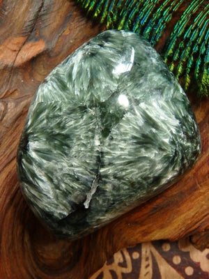 Pretty Hand Held Silvery Angel Wing & Forest Green Seraphinite Specimen - Earth Family Crystals