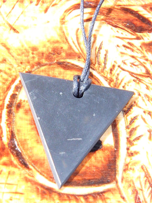 EMF Protection Shungite Triangle Pendant on Cotton Cord