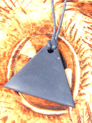 EMF Protection Shungite Triangle Pendant on Cotton Cord 2