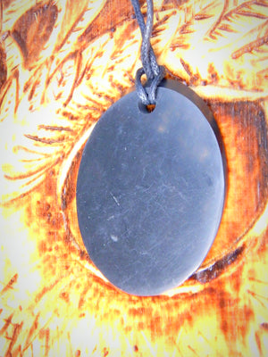 EMF Protection Shungite Oval Pendant on Cotton Cord