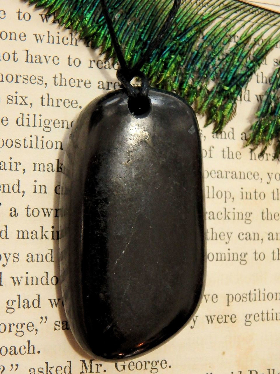 Chunky Polished EMF Protective Shungite Free Form Stone on Cotton Cord