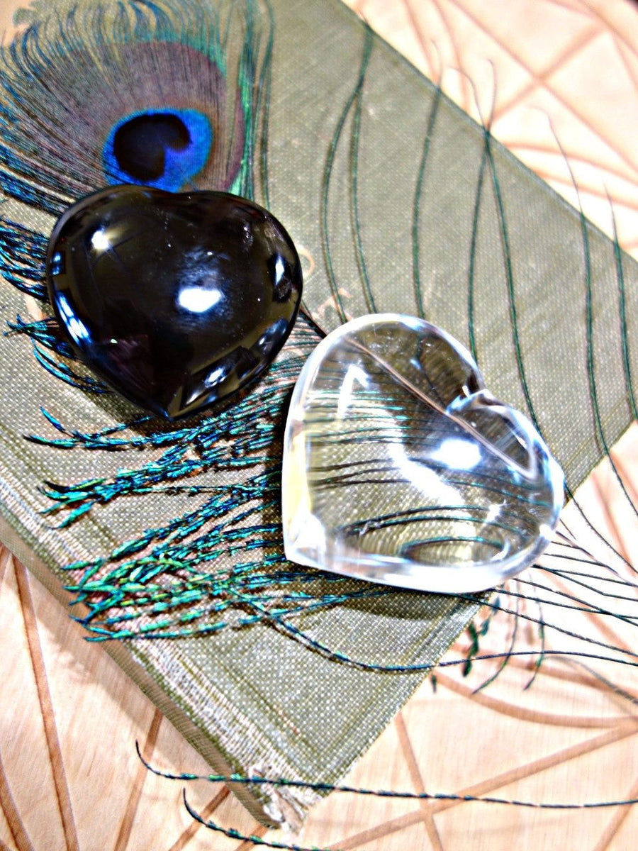 Crystal Heart Set~Smoky Quartz & Clear Quartz Small Heart Carvings - Earth Family Crystals