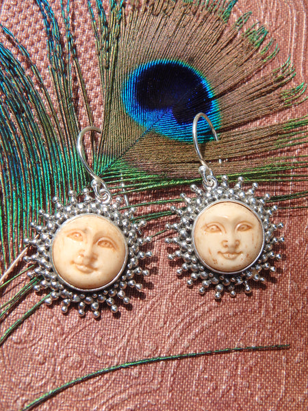 Golden Sun Bone Earrings in Sterling Silver 1