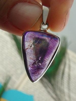 Fabulous Purple Super 7 Shield Gemstone Pendant  In Sterling Silver (Includes Silver Chain) - Earth Family Crystals