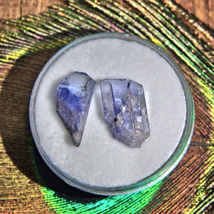 Set of 2 Natural Gemmy Tanzanite Points in Collectors Box