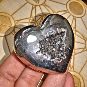 2 Sided Beauty~Silver Geode Druzy & Agate Heart Carving - Earth Family Crystals