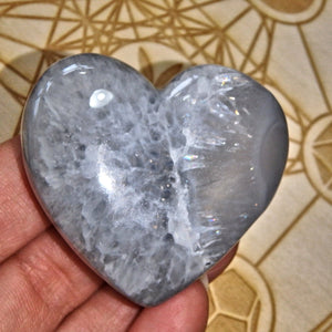 2 Sided Beauty~Cobalt Blue Geode Titanium Druzy & Agate Heart Carving - Earth Family Crystals