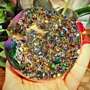Mesmerizing XL Titanium Quartz Geode Sphere Carving From Brazil