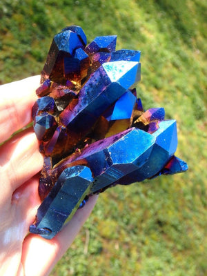 Amazing Jumbo Royal Blue Titanium Quartz Cluster - Earth Family Crystals