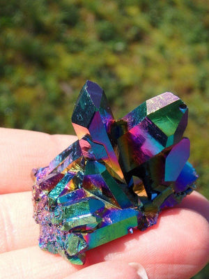 Beautiful Rainbows Titanium Quartz Cluster 4 - Earth Family Crystals