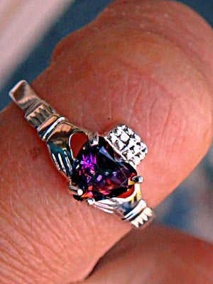 Faceted Mystic Topaz Heart Claddagh Ring in Sterling Silver (Size 5,6, 8, 9) - Earth Family Crystals