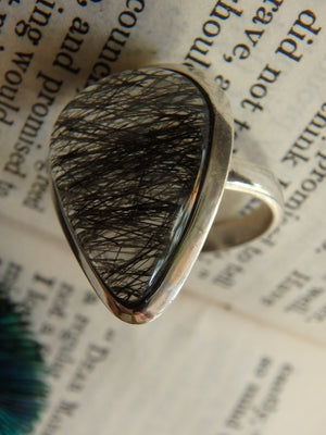 Mega Inclusions~ Fantastic Tourmalated Quartz Ring In Sterling Silver (Size 8) - Earth Family Crystals