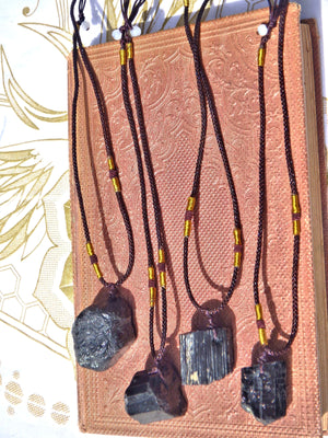 Protective Chunky Raw Black Tourmaline Stone on Adjustable Cord Necklace