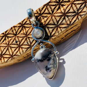 Gorgeous Dendritic Agate & Moonstone Sterling Silver Pendant (Includes Silver Chain)