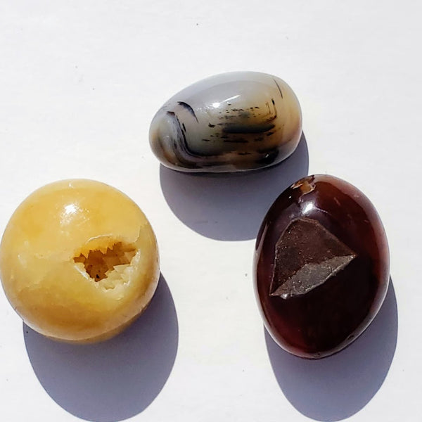 Set of 3 Polished Palm Stones~Orange Carnelian, Golden Septarian & Creamy Agate Crystals