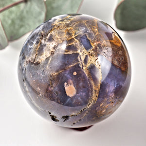 Gorgeous Medium Violet Flame Agate Sphere Carving From Madagascar
