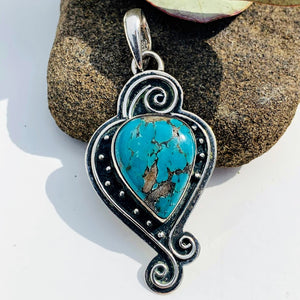 Elegant Tibetan Turquoise Sterling Silver Pendant (Includes Silver Chain)
