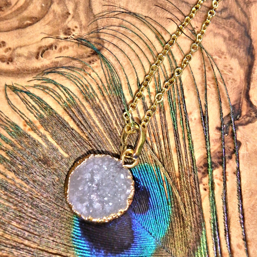 White Quartz Druzy Dainty Necklace (Golden 16 inch Chain)