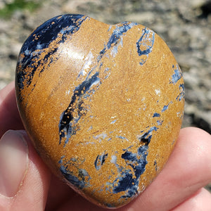 Rare Gorgeous Silky Patterns Medium Pietersite Heart Carving from Namibia #3