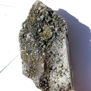 Golden Pyrite & Clear Quartz Large Cluster Specimen