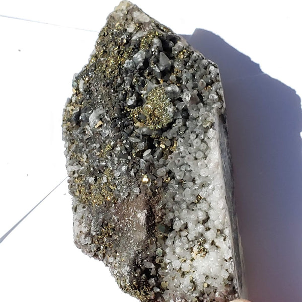 Golden Pyrite & Clear Quartz Large Cluster Specimen - Earth Family Crystals