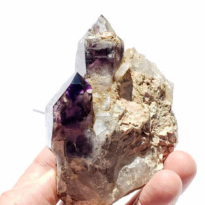 Large Double Point Deep Purple Brandberg Amethyst Nestled in Quartz Matrix From Namibia - Earth Family Crystals
