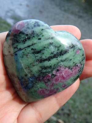 Lovely Green & Burgundy Red Ruby Zoisite Heart Carving