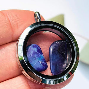 2 Sugilite  Floating stones in Locket Style Unscrewable Stainless Steel Pendant (Includes Silver Chain) - Earth Family Crystals