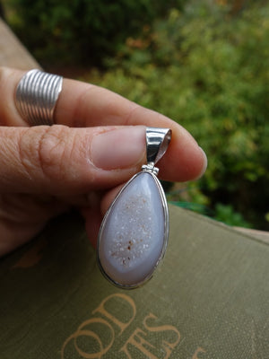 White Druzy Sparkle Agate Pendant In Sterling Silver (Includes Silver Chain) - Earth Family Crystals