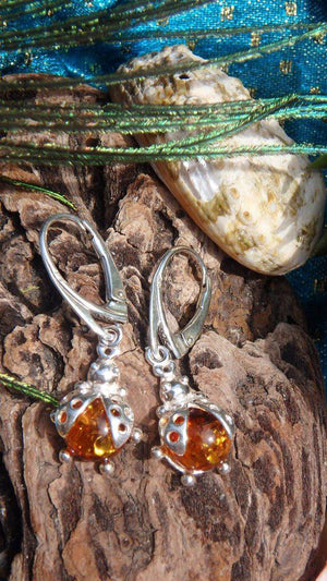 Adorable Baltic Amber Ladybug Earrings In Sterling Silver - Earth Family Crystals