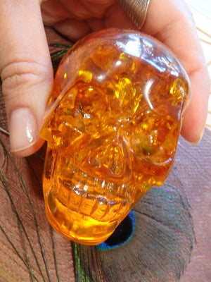 Brilliant Orange Reconstituted Amber Skull Carving 1 - Earth Family Crystals