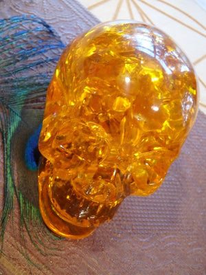 Brilliant Orange Reconstituted Amber Skull Carving 2 - Earth Family Crystals