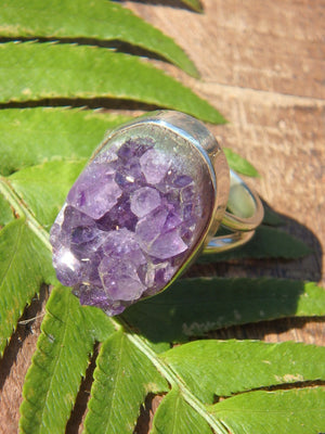 Pretty Purple Sparkle Raw Druzy Amethyst Ring in Sterling Silver (Size 8) - Earth Family Crystals
