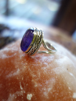 Pretty Patterns! Purple Amethyst Ring In Sterling Silver (Size 7.5) - Earth Family Crystals