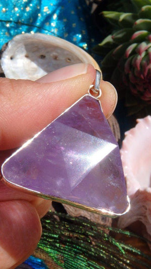 Amazing Amethyst Gemstone Pendant  In Sterling Silver (Includes Silver Chain) - Earth Family Crystals