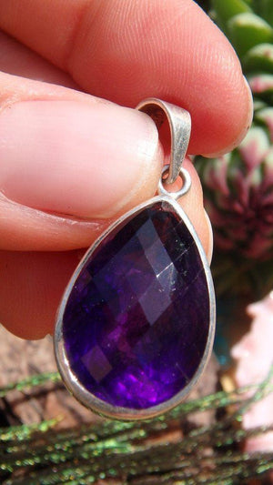 Deep Dark Midnight  Purple Faceted Amethyst Gemstone Pendant In Sterling Silver (Includes Silver Chain) - Earth Family Crystals