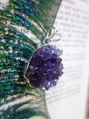 Shimmering Raw Purple Amethyst Druzy Pendant In Sterling Silver (Includes Silver Chain) - Earth Family Crystals