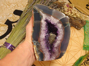Amethyst Geode With Yellow Calcite Inclusions 23 - Earth Family Crystals