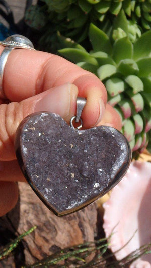 Amazing  Amethyst Druzy Gemstone Heart Pendant In Sterling Silver (Includes Silver Chain) - Earth Family Crystals