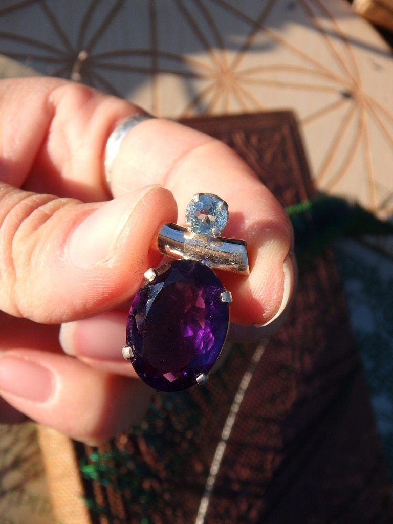 Dark Purple Faceted Amethyst & Blue Topaz Gemstone Pendant In Sterling  Silver (Includes Silver Chain)