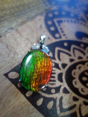 AA Grade Quartz Capped  Alberta Ammolite Pendant With Faceted Quartz Accent Stones  In Sterling Silver (Includes Silver Chain) - Earth Family Crystals
