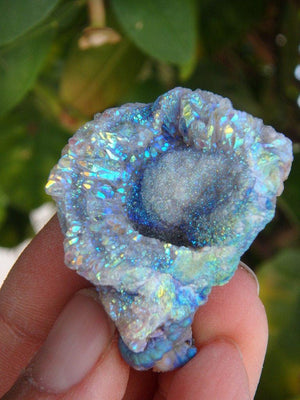 Amazing Shimmering Angel Aura Chalcedony Flower Specimen - Earth Family Crystals