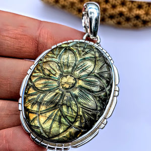 Fabulous Flower Carved Large Labradorite Pendant in Sterling Silver (Includes Silver Chain) #2