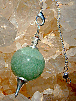 Fantastic Sphere Shaped Green Aventurine Pendulum With Detachable Cord - Earth Family Crystals