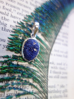 Gorgeous Cobalt Blue Druzy Azurite Pendant In Sterling Silver (Includes Silver Chain) - Earth Family Crystals